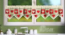 Kitchen Curtain Cafe Net Curtain Lace Hearts Drop Sold by the metre