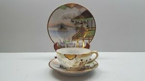 Vintage Japanese Hand Painted Egg Shell Porcelain Cup & Saucer with Plate