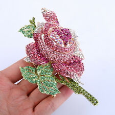 Gorgeous Rose Flower Leaf Pink Austrian Crystal Brooch Pin Gold Tone Women Gift