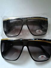 SUNGLASSES LARGE BLUE / GOLD CROSSOVER FRAME SHADED GRAY LENS NWT #024-C