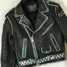 Vintage Punk Rock Bands Distressed Leather Motorcycle Biker Jacket Mens 44 Black