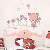 Cute Pink Bear Kids Wall Decal Girls Vinyl Sticker Mural Decor Removable Baby