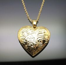 Gold Heart Locket Pendant Necklace 14ct Gold GP Gift Photo Insertable