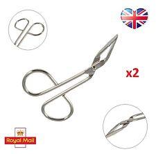 2 x Eyebrow Tweezers Clamp Tool Scissors Eye Make Up Hair Removal Grooming UK