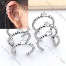 Stainless Steel Three Closure Star Fake Cartilage Clip On Ear Cuff Earring
