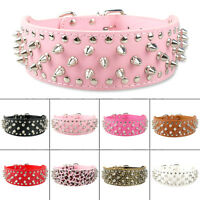 Cool Studded Spiked PU Leather Dog Collars for Pitbull Bulldog Terrier Amstaff