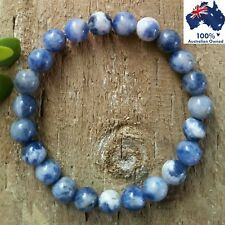 SODALITE Chakra Bracelet Crystal Healing Energy 100% Natural Gemstone Worry Bead