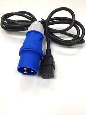 16 AMP 240V COMMANDO PLUG  TO IEC C19 SKT UPS EXTENSION POWER LEAD 2.5 M