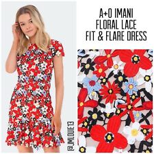Alice + Olivia Imani Red Cap Sleeve Fit and Flare Floral Lace Dress $440 Sz 0 XS