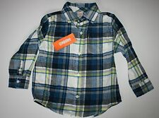 New Gymboree Stars Brights Line Blue Check Plaid Flannel Shirt size 18-24M NWT