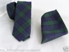 """(A) Tartan Watch-Green/Blue/Black Mens Skinny Necktie & Hanky Set-2.5""""=6cm Width"""