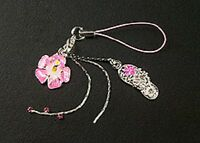 New Cell Phone Charm Strap Pink Enamel Hibiscus Flower For Mobile Free Shipping