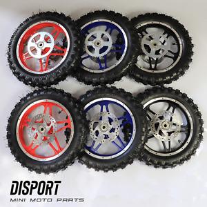 Mini Moto Dirt Bike Complete Front & Rear Wheel Set - Sprocket Brake Pads 15x2.5
