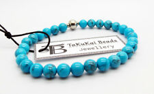 """Mens Turquoise Beads Bracelet 6mm 7.5"""" Stretch Handcrafted Wristband By TaKuKai"""