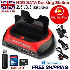 "2.5""3.5"" HDD Docking Station IDE SATA Dual USB Hard Drive Card Reader Dock HUB"