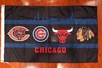 Chicago Cubs Bulls bears Blackhawks Flag