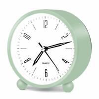 "Nice Analog Alarm Clock 4"" Blue Metal Vintage Shabby Chic Farmhouse Desk Bedside"