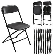 10 Plastic Folding Chairs Wedding Banquet Seat Premium Party Event Chair Black