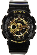 Casio Baby-G Ladies Wrist Watch BA110-1A BA-110-1A Black Gold Digital-Analog