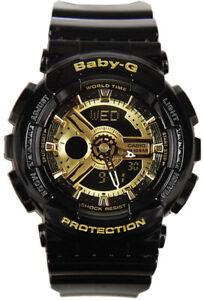 Casio Baby-G Womens Watch BA110-1A  BA-110-1ADR Black Gold Digital-Analogue