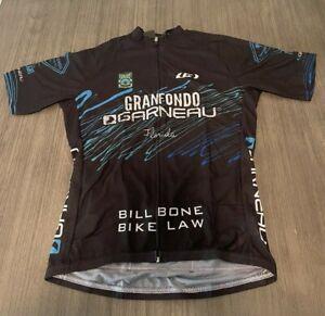 GARNEAU MEN'S MAILLOT TOUR CYCLING SHIRT MULTI PKTS SZ L BLACK W/ DESIGNS NWT