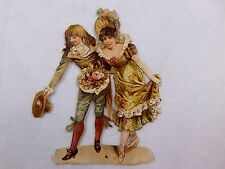 Embossed Victorian Die-Cut Young Girl & Boy Bowing Flowers Fancy Dress CD79