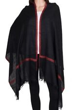 Pure Cashmere Black Pashmina Embroidered Red Floral Border Luxury Royal Soft