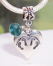 Twins Footprint Heart Green May Birthstone Dangle Charm for European Bracelets