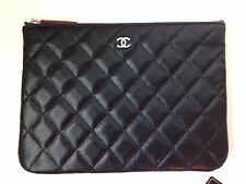 CHANEL Caviar Leather O Case Pouch, Clutch Bag-NEW