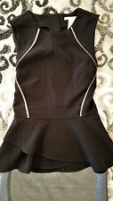 H&M Black Peplum top with Black Silver Trim NWT Size 4