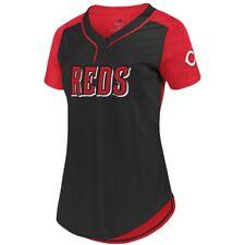 80160bed New MLB Cincinnati Reds Majestic Women's Cool Base T-Shirt –Black/Red NWT