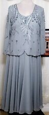 GRAY BEADED  VINTAGE COCKTAIL  DRESS, CRUISE,WEDDING  MOTHER OF BRIDE 18W PLUS