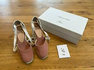 Castaner Ethical Collection Carina Wedge Espadrilles Dusky Rose UK 5 NEW RRP£110