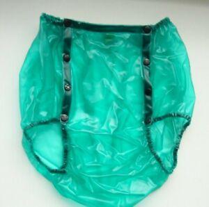 PVC Plastik Gummihose knöpfbar Inkontinenz Schutzhose PA59 Grün transparent XL