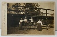 RPPC Victorian Women at Bridge w/ Horse & Buggy Bedford Ohio c1905 Postcard E19