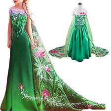 Kids Girls Frozen Fever Green Princess Elsa Party Wedding Cosplay Costume Dress