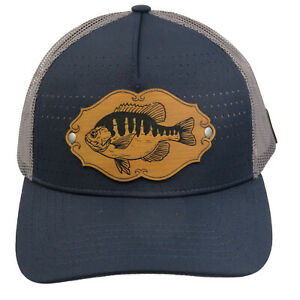 Vintage Heddon Perch Leather Patch Truckers Snap Back Mesh Cap Fishing Fish