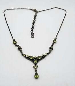 """Nicky Butler NB 925 Sterling Silver Green Gemstone Dangle Necklace 17"""" Vintage"""