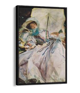 JOHN SINGER SARGENT, LADY WITH A PARASOL -FLOATER EFFECT FRAMED CANVAS ART PRINT