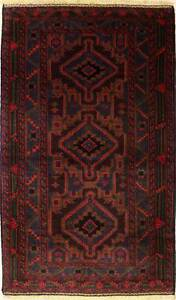 Rugstc 4x6 Caucasian Design Red Area Rug, Hand-Knotted,Tribal Balochi with Wool