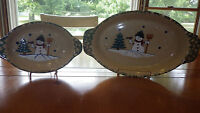"""Oval Baking dishes Holiday Oval Serving DIshes ABC Distributing Snowman 8"""" 12"""""""