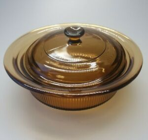 Corning Vision Ware V-30-B Amber Ribbed Covered Casserole With Pyrex Lid 24oz