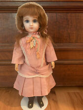 """14"""" French Reproduction Doll - Dressed, Hand Glass Ppw Eyes, Antique Mohair Wig"""