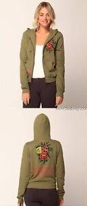 Ed hardy women tattoo Green Hoody Jacket NEW SMALL SIZE