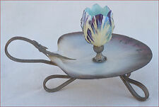 French Mont St Michel Mother Pearl Porcelain Brass Candle Holder Souvenir 1900