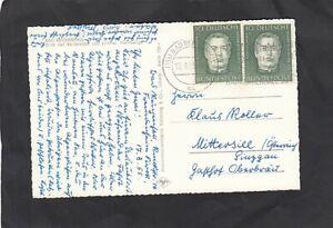 Bund, portorichtige Auslands-PK mit Mehrfachfrankatur, Mi.-Nr. 201, 1955