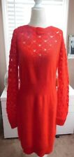 NWT RED Moda Int'l Fuzzy 70% Angora Dress Pointelle Knit Design XL