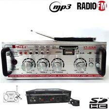 AMPLIFICATORE AUDIO STEREO MP3 USB SD CARD RADIO FM W WATT 2 INGRESSI RCA YT326A