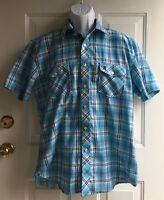 Fusai Men's Blue Plaid Short Sleeve Button Down Shirt mens sz XL