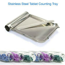 PILL COUNTER MEDICINE TABLET DRUG SPATULA STAINLESS STEEL COUNTERING TRAY A MINT